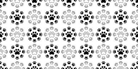 dog paw seamless pattern footprint vector french bulldog icon cartoon scarf isolated repeat wallpaper tile background illustration doodle design