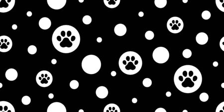 dog paw seamless pattern footprint vector polka dot french bulldog icon cartoon scarf isolated repeat wallpaper tile background illustration doodle design Stock Illustratie