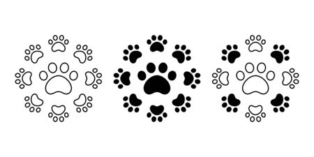 dog paw vector footprint icon cat french bulldog cartoon symbol character illustration doodle design