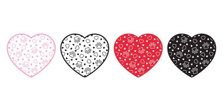 dog paw vector heart valentine footprint icon french bulldog logo symbol cartoon character doodle illustration doodle design