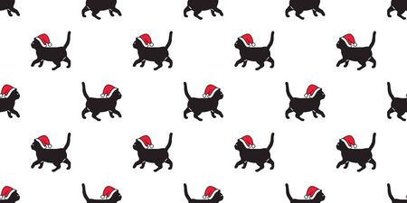 cat seamless pattern Christmas vector Santa Claus hat kitten walking cartoon scarf isolated repeat wallpaper tile background doodle illustration design