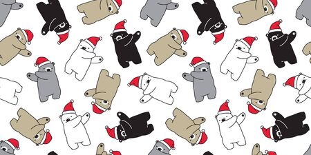 bear seamless pattern Christmas vector dab dance Santa Claus hat scarf isolated repeat wallpaper cartoon tile background illustration doodle design