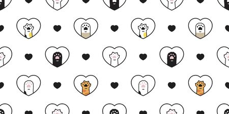 cat paw seamless pattern valentine heart vector footprint dog kitten cartoon scarf isolated repeat wallpaper tile background doodle illustration design