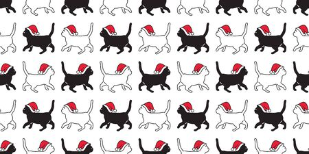 cat seamless pattern Christmas vector Santa Claus hat kitten walking cartoon scarf isolated repeat wallpaper tile background illustration doodle white design