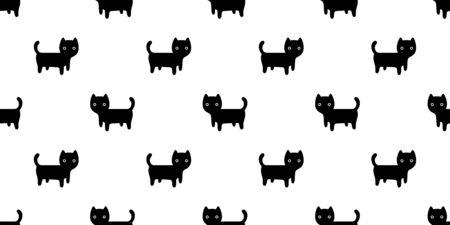cat seamless pattern kitten vector scarf isolated repeat background tile wallpaper cartoon doodle illustration black design