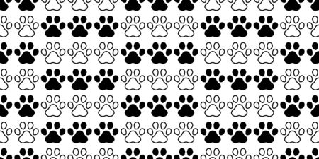 dog paw seamless pattern footprint vector french bulldog cartoon icon scarf isolated repeat wallpaper tile background illustration doodle design