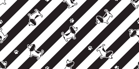 dog seamless pattern french bulldog paw footprint striped vector cartoon scarf isolated repeat wallpaper tile background doodle illustration design