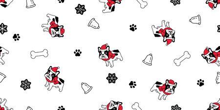 dog seamless pattern Christmas french bulldog vector Santa Claus hat bone scarf isolated cartoon repeat background tile wallpaper illustration design