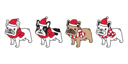 dog vector Christmas french bulldog Santa Claus hat scarf icon puppy pet character cartoon symbol illustration design