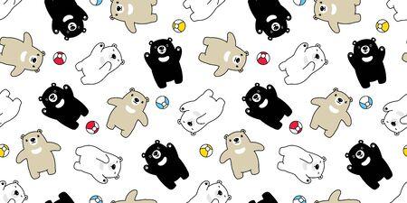 Bear seamless pattern polar bear vector ball scarf isolated teddy cartoon repeat background tile wallpaper illustration doodle design