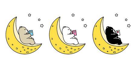 Bear vector icon polar bear moon night reading book teddy logo cartoon character illustration doodle design