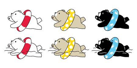 Bear vector icon polar bear swimming ring teddy logo cartoon character illustration pool ocean summer beach doodle design