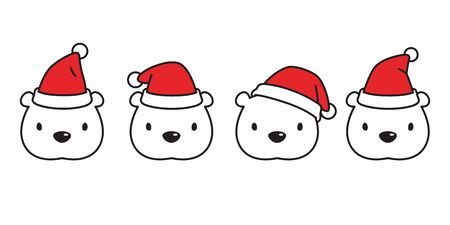 Bear vector polar bear Christmas Santa Claus hat icon cartoon character teddy head logo illustration doodle design Illustration