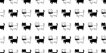 cat seamless pattern kitten vector scarf isolated repeat background tile wallpaper fish tuna cartoon illustration doodle design