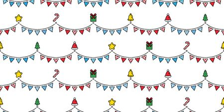 Christmas seamless pattern party flag Santa Claus gift box candy cane bell star scarf isolated cartoon repeat background tile wallpaper illustration gift wrap paper design