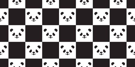 Bear seamless pattern panda polar bear head vector checked scarf isolated teddy cartoon repeat background tile wallpaper illustration doodle design Stock Illustratie