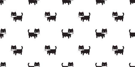 cat seamless pattern kitten vector scarf isolated repeat background tile wallpaper fish tuna cartoon doodle illustration design