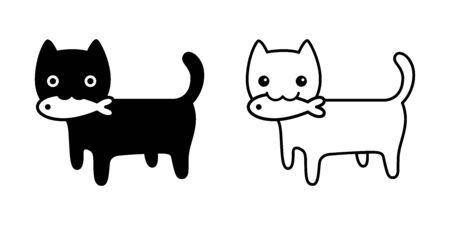cat vector icon kitten calico logo symbol fish salmon tuna food cartoon character illustration doodle design Stock Illustratie