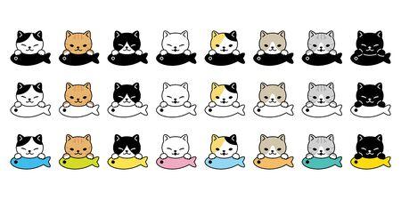 cat vector kitten breed calico icon logo fish symbol cartoon character doodle illustration design