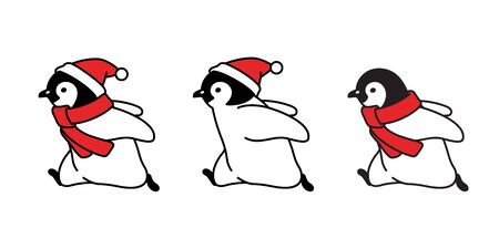 penguin vector Christmas Santa Claus hat icon logo running cartoon character illustration symbol graphic doodle design  イラスト・ベクター素材