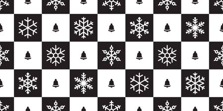 Snowflake seamless pattern vector Christmas snow Xmas bell Santa Claus checked scarf isolated wallpaper tile background illustration gift wrapping paper design Stock Illustratie