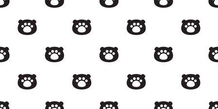 Bear seamless pattern polar bear head vector paw footprint scarf isolated teddy cartoon repeat background tile wallpaper illustration doodle design