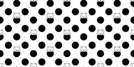 cat seamless pattern kitten vector cartoon scarf isolated polka dot tile wallpaper doodle repeat background illustration design