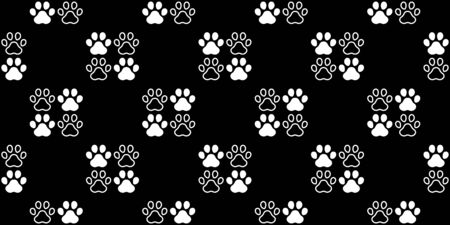 dog paw seamless pattern footprint vector french bulldog icon scarf isolated cartoon repeat wallpaper tile background illustration black doodle design