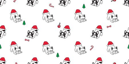 dog seamless pattern Christmas french bulldog vector Santa Claus hat bone candy cane scarf isolated cartoon repeat background tile wallpaper illustration design