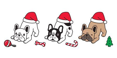 dog vector Christmas french bulldog Santa Claus hat icon puppy pet candy cane character cartoon symbol illustration design