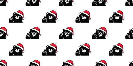 bear seamless pattern Christmas vector Santa Claus hat scarf isolated repeat wallpaper teddy cartoon tile background illustration doodle black design