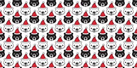 bear seamless pattern Christmas vector Santa Claus hat scarf isolated repeat wallpaper teddy cartoon tile background illustration doodle design Stock Illustratie