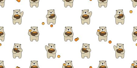 Bear seamless pattern polar bear vector fruit basket orange scarf isolated teddy cartoon repeat background tile wallpaper illustration doodle design
