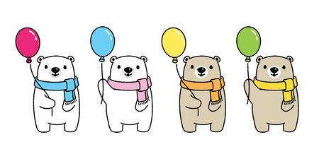 Bear vector polar bear balloon icon logo cartoon character symbol illustration doodle design