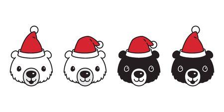 Bear vector polar bear Christmas Santa Claus hat icon cartoon character teddy logo illustration symbol doodle design