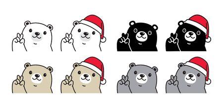 Bear vector polar bear Christmas Santa Claus hat icon character cartoon teddy logo illustration doodle design