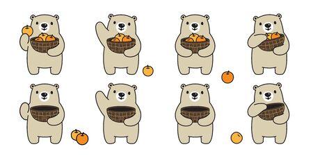 Bear vector polar bear fruit basket orange icon logo cartoon character symbol illustration doodle design Stock Illustratie