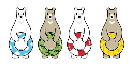 Bear vector polar bear swimming ring icon pool ocean sea beach logo summer tropical cartoon character symbol doodle illustration design Stock Illustratie