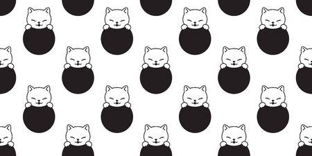 cat seamless pattern kitten vector cartoon scarf isolated polka dot repeat background tile wallpaper doodle illustration design Stock Illustratie