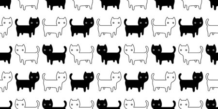 cat seamless pattern kitten vector cartoon scarf isolated repeat background tile wallpaper doodle illustration design