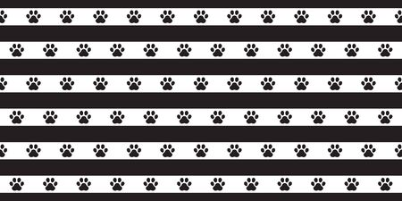 dog paw seamless pattern footprint vector stripes french bulldog icon cartoon scarf isolated repeat wallpaper tile background illustration doodle design