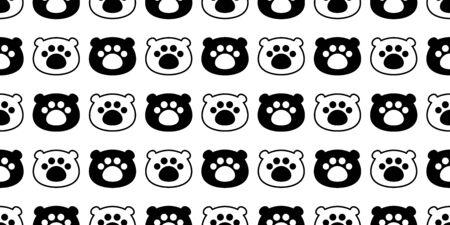 Bear seamless pattern polar bear head vector paw footprint scarf isolated teddy cartoon repeat wallpaper tile background illustration doodle design