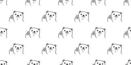 Bear seamless pattern polar bear vector scarf isolated teddy cartoon repeat background tile wallpaper illustration doodle design