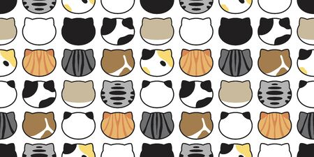 cat seamless pattern kitten head vector calico breed fish cartoon scarf isolated repeat background tile wallpaper doodle illustration design Stock Illustratie
