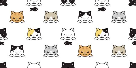 cat seamless pattern kitten vector calico breed fish cartoon scarf isolated repeat background tile wallpaper doodle illustration design