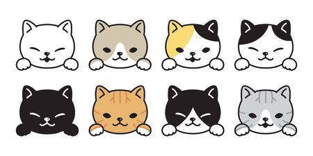 cat vector icon kitten breed calico logo symbol cartoon character illustration doodle design Stock Illustratie