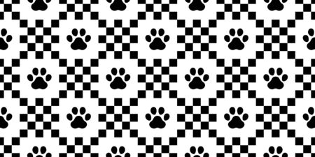 dog paw seamless pattern footprint vector checked french bulldog cartoon scarf isolated repeat wallpaper tile background illustration doodle design