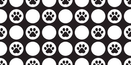 dog paw seamless pattern footprint vector polka dot french bulldog cartoon scarf isolated repeat wallpaper tile background illustration doodle black design Stock Illustratie