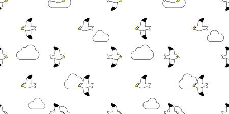 bird seamless pattern vector seagull scarf isolated Cloud sky cartoon repeat background tile wallpaper illustration design