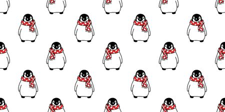 penguin seamless pattern Christmas vector Santa Claus birthday scarf isolated repeat wallpaper tile background cartoon illustration design